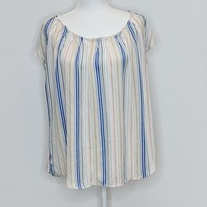 Lauren Conrad Blouse Ruffle Neck Tie Back Striped